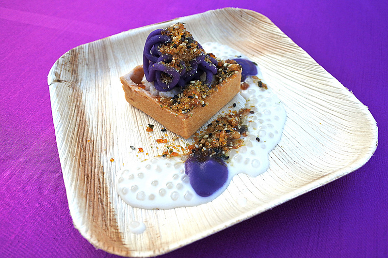 「Taro, Okinawan Sweet Potato, and Coconut Pie with Candied Furikake」