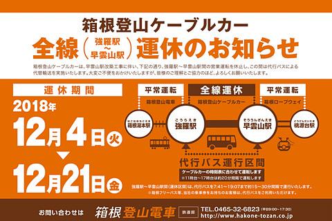 箱根登山鉄道、12月4日から18日...