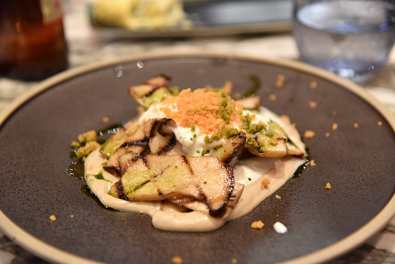 「Grilled Oyster Mushrooms/Shitake Cream/Stracchiatella/Tarragon Oil」