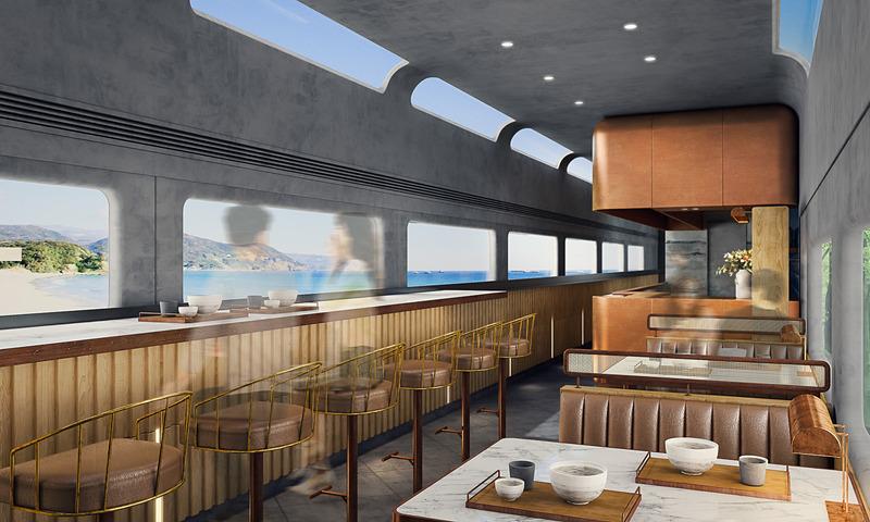 4号車のヌードルバー。こだわりの麺(ヌードル)を目の前で調理するオープンスタイルのキッチンがあり、車窓を流れる相模湾の景色を眺めながらカウンター席とボックス席で食事を楽しめる