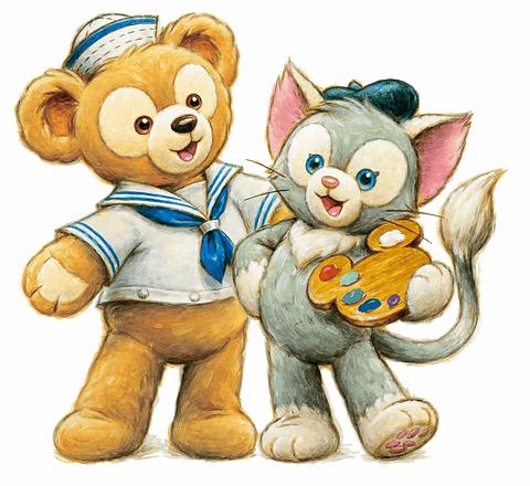 東京ディズニーシーのキャラクター「ダッフィー」(左)と「ジェラトーニ」(右)